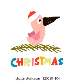 bird in a winter hat red, sitting on the branch. color lettering - christmas. vector