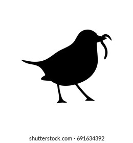 Bird and Worm Silhouette. Black icon on white background. Vector illustration