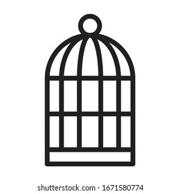 Birdcage or bird cage line art vector icon for pet apps and websites