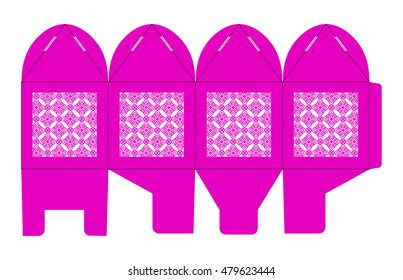Birdcage favor box. Wedding gift box for sweets. Table decoration on the day of birth, a baby shower or other party. Layout for laser cutting of paper in Chinese, Japanese, Moroccan, oriental style.