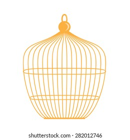 Birdcage isolated illustration on white background