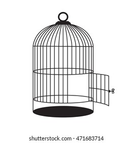 Birdcage with open door. Vector black silhouette