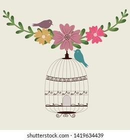 Birdcage vector. Bird cage vintage. Wedding invitation. Save the date. Bird cage illustration. Cage vector. Clip art floral. Leaves vector