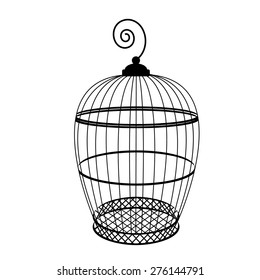 Birdcage vector isolated, bird cage silhouette, vintage birdcage
