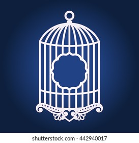 Birdcage wedding decor for laser cutting or die cutting. Cut out paper frame or card holder for party decoration with bird cage.