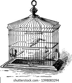 Birdcage which is a cage for pet birds vintage line drawing or engraving illustration.