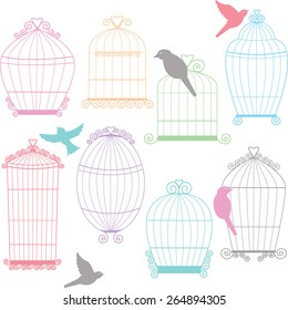 Birdcages, Birds Silhouette set