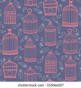 Birdcages and feathers. Seamless vector pattern. Purple background.