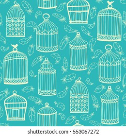 Birdcages and feathers. Seamless vector pattern. Turquoise background.