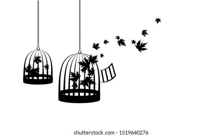 Birdcages with flying up maple leaves. Vector decoration from scattered elements. Monochrome isolated silhouette. Conceptual illustration.