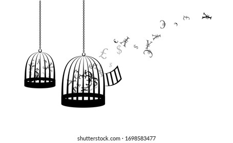 Birdcages with flying up money. Vector decoration from scattered elements. Monochrome isolated silhouette. Conceptual illustration.