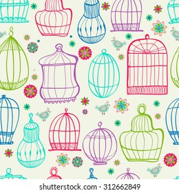 Birdcages pattern. Colorful doodle illustration. Can be used for wallpaper, background, fabric design, Vector