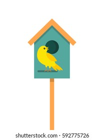 Birdhouse with bird. flat vector illustration isolate on a white background