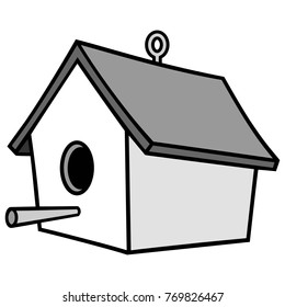 Birdhouse with Hanger Illustration - A vector illustration of a cartoon Birdhouse with a Hanger.