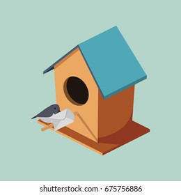 Birdhouse with post bird isometric style colorful vector illustration