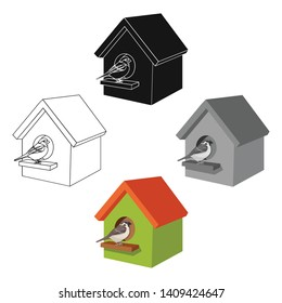 Birdhouse, single icon in cartoon,black style.Birdhouse, vector symbol stock illustration web.