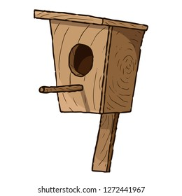 Birdhouse. Vector illustration of a wooden birdhouse. Hand drawn birdhouse.