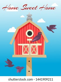 Birdhouses with flying birds poster vector illustration. Home sweet home. Nesting boxes to hang on tree. Wooden colorful construction to feed birds, small buildings of planks with hole.