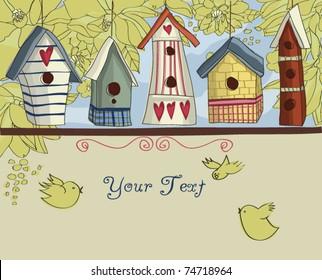 Birdhouses, horizontal background