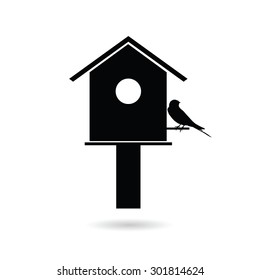 birdhouses with sparrow black vector silhouette