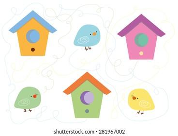 Birdhouses Vector