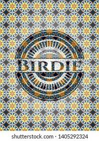 Birdie arabesque style badge. arabic decoration.