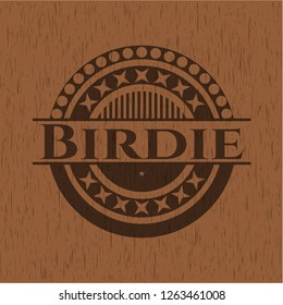 Birdie badge with wood background