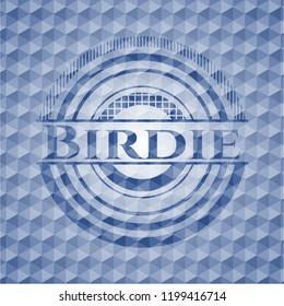 Birdie blue polygonal badge.