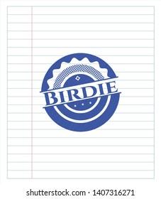 Birdie emblem draw with pen effect. Blue ink. Vector Illustration. Detailed.