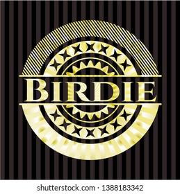 Birdie golden emblem or badge. Vector Illustration. Detailed.