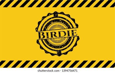 Birdie inside warning sign, black grunge emblem. Vector Illustration. Detailed.