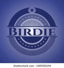 Birdie jean or denim emblem or badge background. Vector Illustration. Detailed.