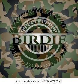 Birdie on camouflaged pattern. Vector Illustration. Detailed.