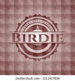 Birdie red seamless polygonal badge.