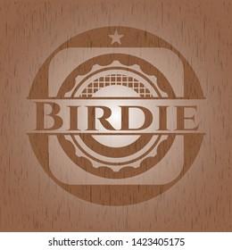 Birdie retro wood emblem. Vector Illustration.