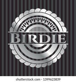 Birdie silvery badge. Vector Illustration. Mosaic.