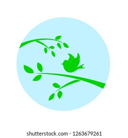 Birdie and tree branch. Silhouette of a green color on a circle background. Vector illustration isolated on white background.