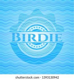 Birdie water representation style badge. Vector Illustration. Detailed.