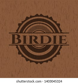 Birdie wood emblem. Vintage. Vector Illustration.