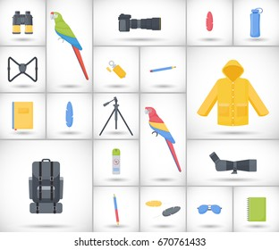 Birding travel flat vector icons set, big set of flat design birdwatching, hobby and adventure objects with round shadows isolated on the white background, vector illustration