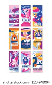 Birds and animals poster set, design element with snake, koala, rhino, llama, ostrich, lion, elephant, monkey, bird can be used for banner, greeting card, baby shower, invitation vector Illustration