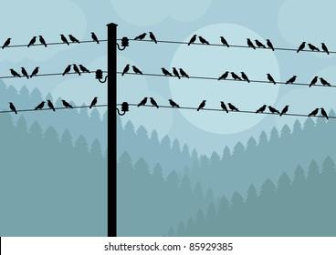 Birds in autumn countryside landscape background illustration