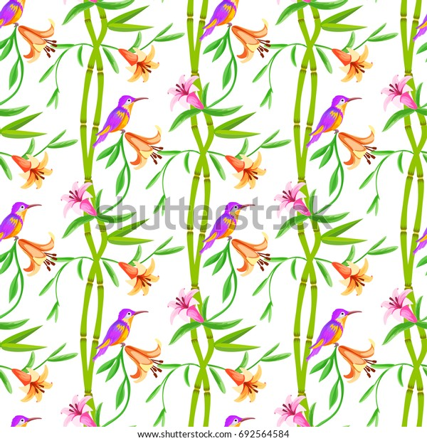 Birds, bamboo and flowers seamless floral pattern.