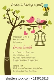Birds and Bees Baby Shower Invitation