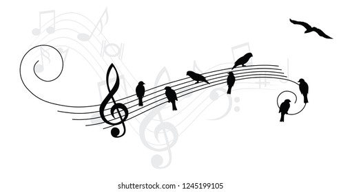 Birds bird music note musical notes waves Vector fly icon sign Karaoke banner icon symbols wire funny fun music art piano day pattern sound backdrop concept staf Music quote singing wires songs notes