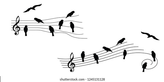 Birds bird as music notes musical notes waves Vector fly icon background banner icon symbols wire funny fun music art seamless pattern sound backdrop concept staf Music quote singing wires songs notes