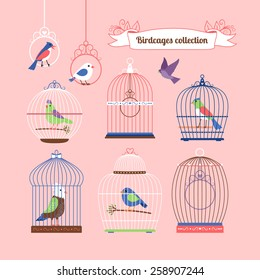 Birds and birdcages cute colored vector illustration