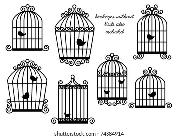 Birds and Birdcages Vector Set - Birdcages without birds also included