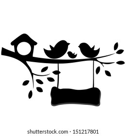 Birds and birdhouses silhouette on the branch, wooden signboard