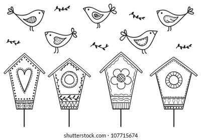 Birds and birdhouses - stylized hand drawn illustration